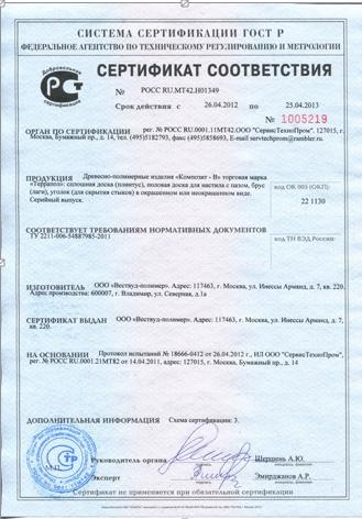 сертификат соотвествия на отделочные материалы